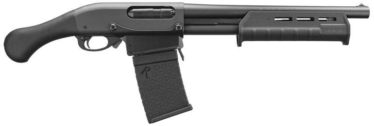 Remington Tac 14 or Mossberg shockwave with pistol grip and arm