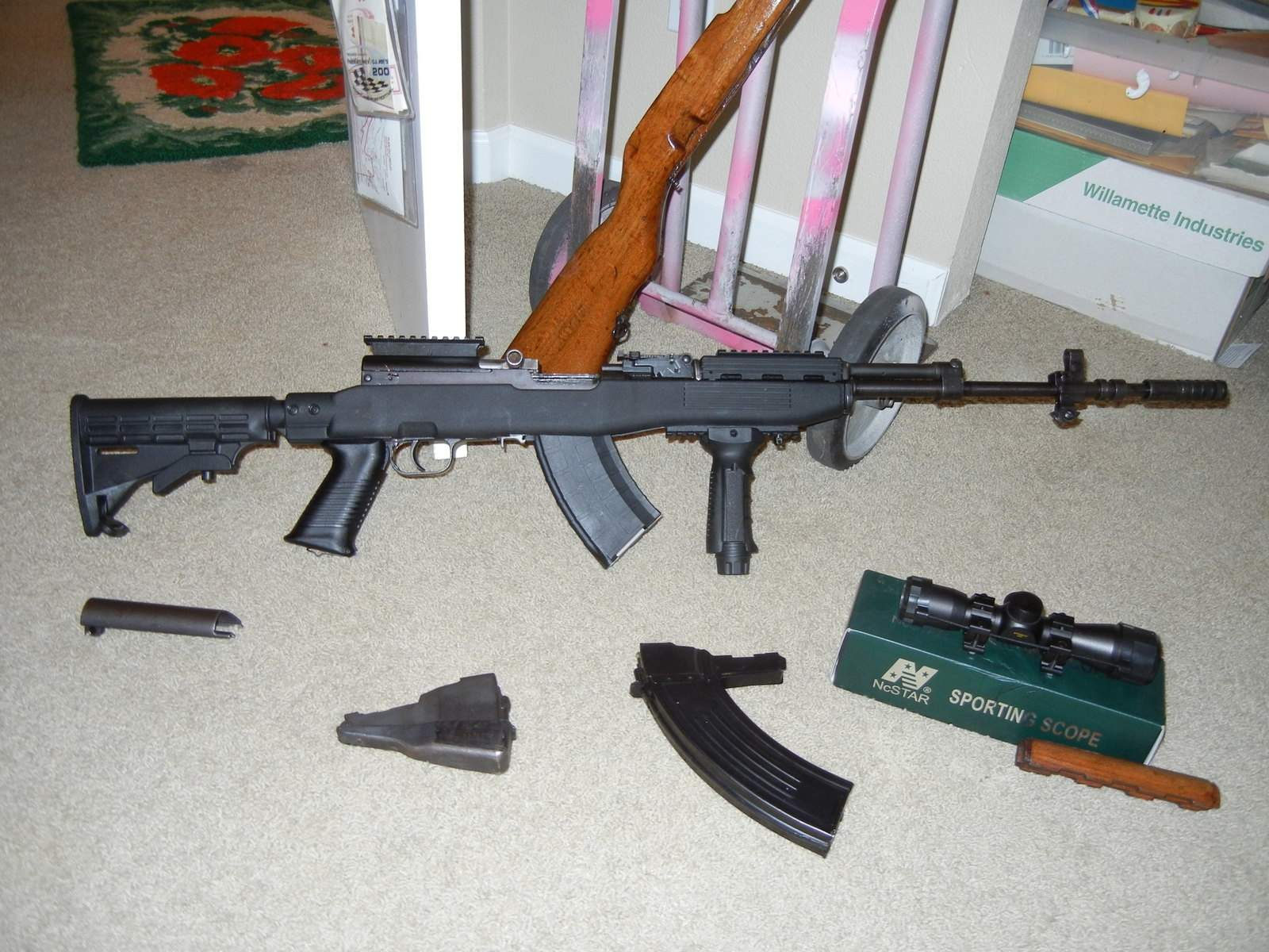 Yugo SKS w/ Tapco stock, high rise scope mount, 30rd and 20