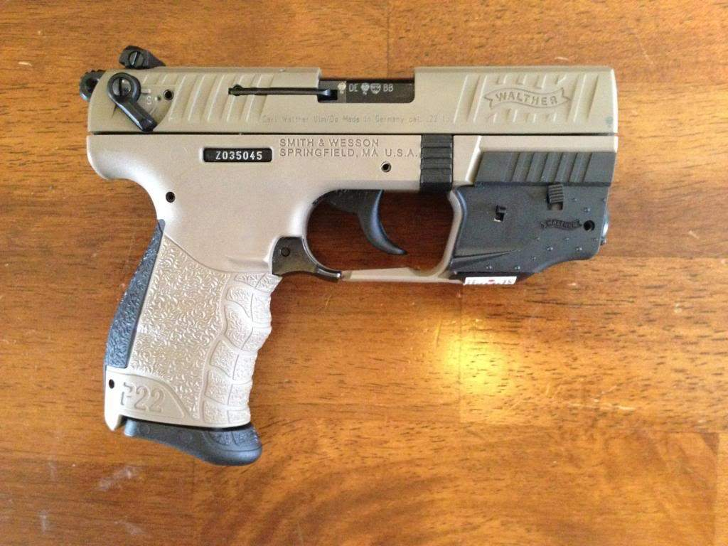 Walther P22 Flat Dark Earth with Laser Sight, 2 Extra Mags, and