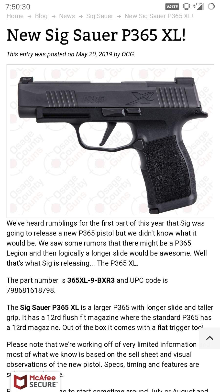 Sigp365xl? | Northwest Firearms - Oregon, Washington, and