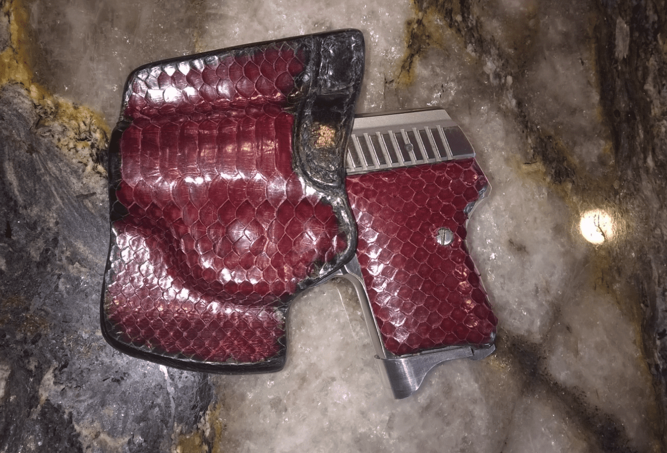 Seecamp with snakeskin grips and holster | Northwest Firearms